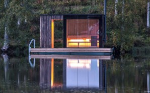 Floating Sauna With Charred Timber Cladding Boasts Minimal Site Impact
