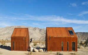 Gabled Metal Folly Cabins Provide Glamping Site In Joshua Tree